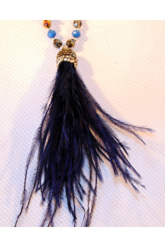 Kette, lang, blau, Perlen, Federn