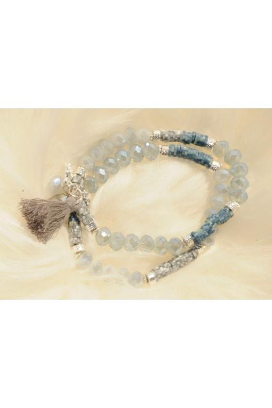 Armband, grau/blau