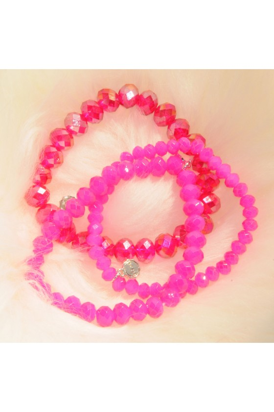 Armband, 3-teilig, pink