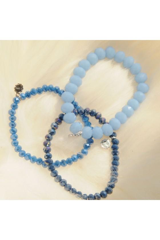 Armband, 3-teilig, blau, blau metallic