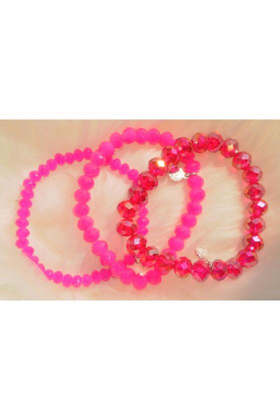 Armband, 3-teilig, pink/...