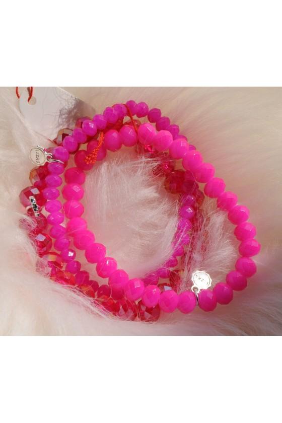 Armband, 3-teilig, pink/ pink metallic