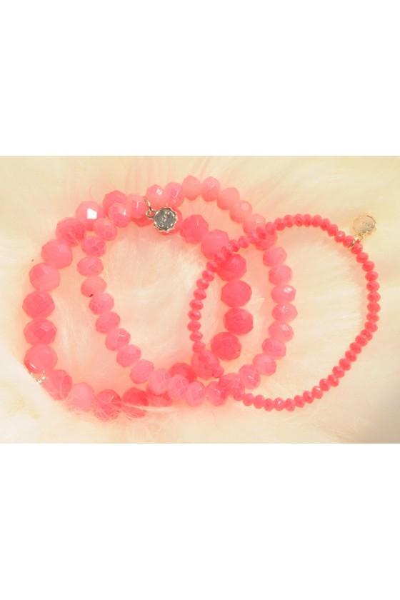 Armband, 3-teilig, rosa