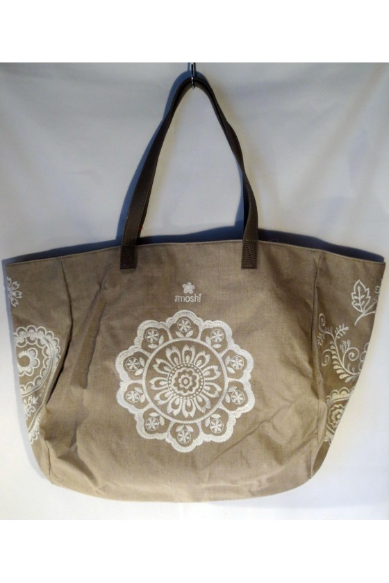 Strandtasche, Tasche, Shopper, Schultertasche, natur, bestickt