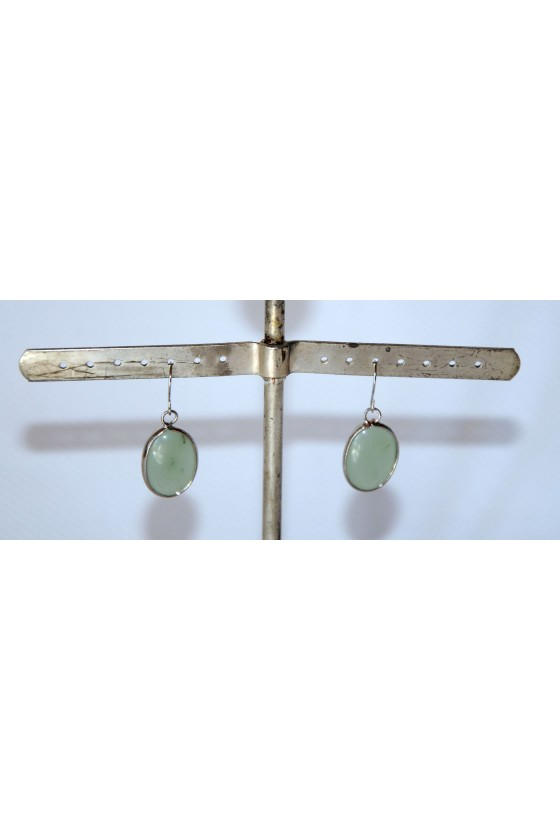 Ohrhänger, Ohrringe, grün/silber