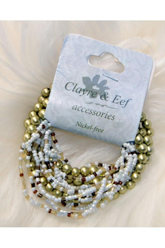Armband, Perlen gold/creme