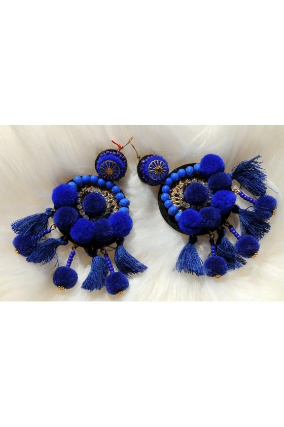 Ohrhänger, Ohrringe, royalblau