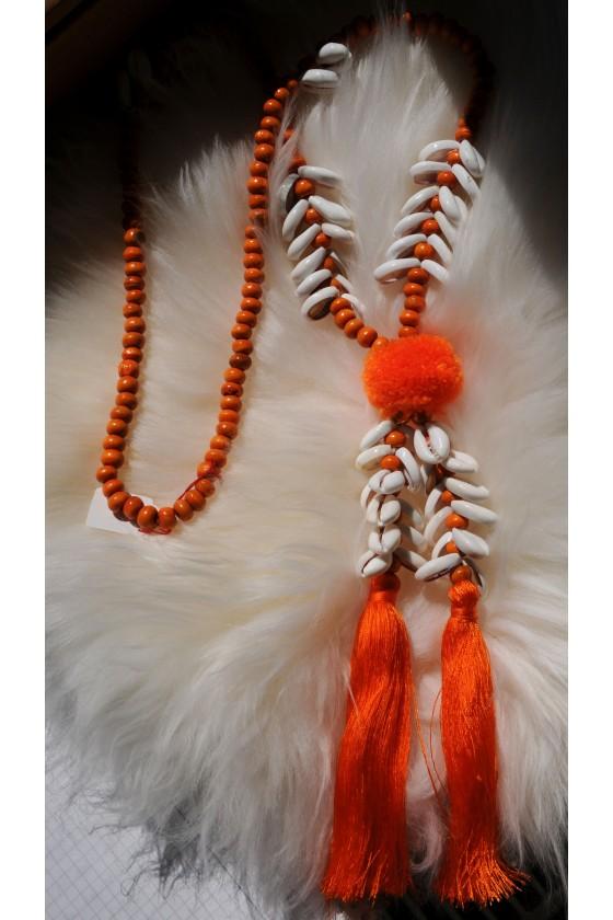 Kette, lang, orange/Muscheln