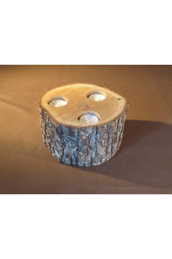 Windlicht Holzscheibe