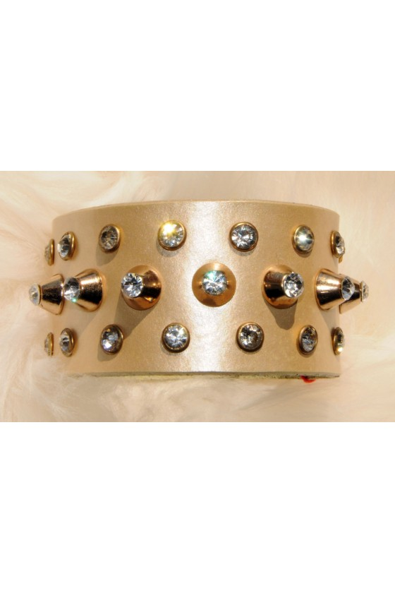Armband, Echt Leder, Gold,...