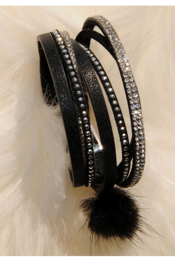 Armband, schwarz, Straß