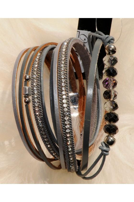 Armband, Echt Leder, grau, Straß
