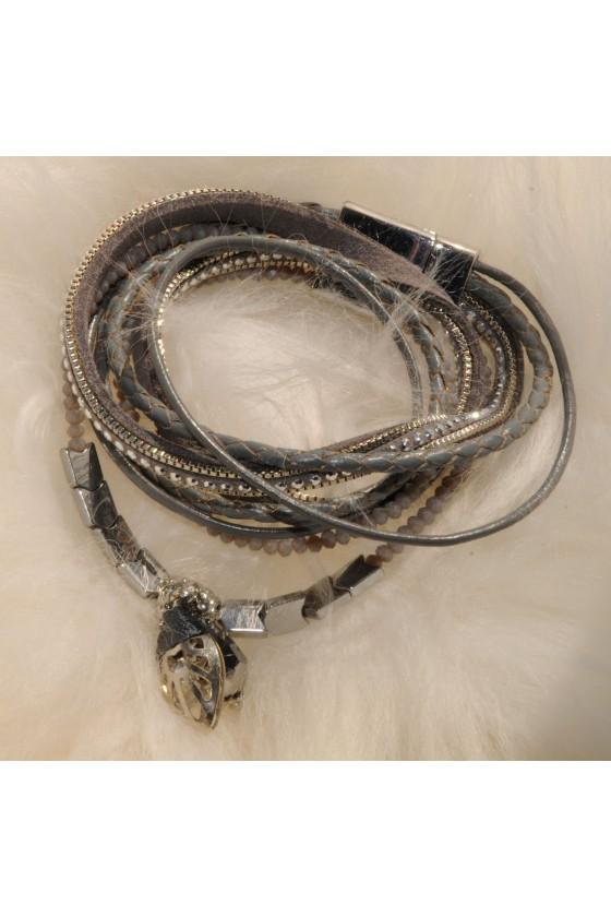 Armband, Echt Leder, grau,...