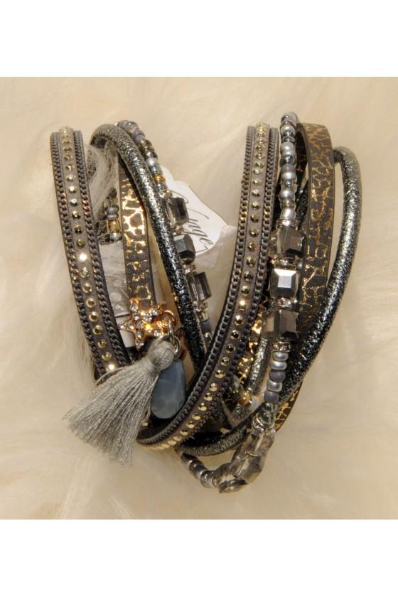 Armband, grau/gold