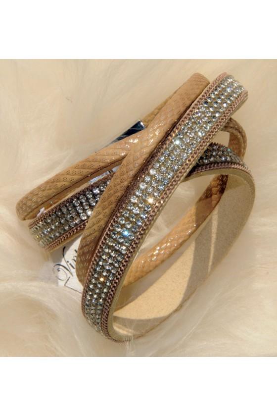 Armband, Echt Leder, beige,...