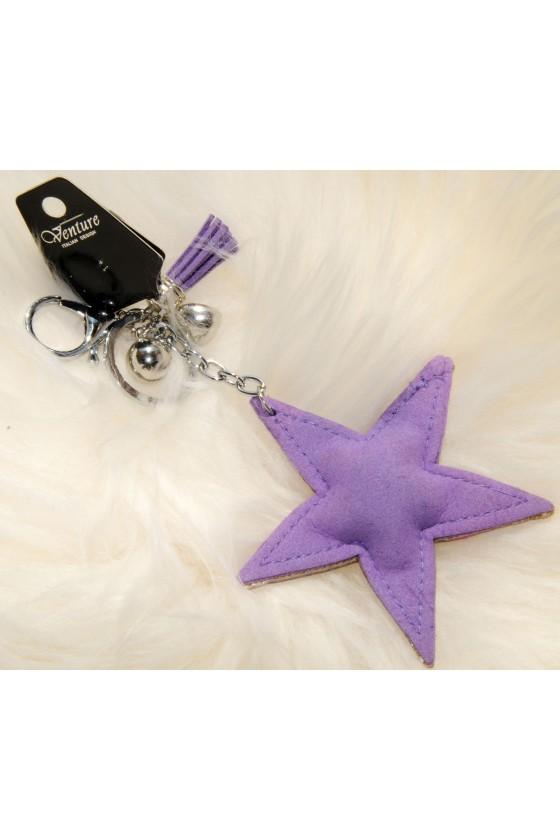 Schlüsselanhänger, Anhänger, lila, Straß, Stern
