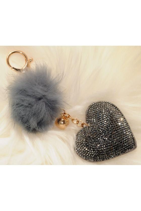 Schlüsselanhänger, Anhänger, grau,  Herz