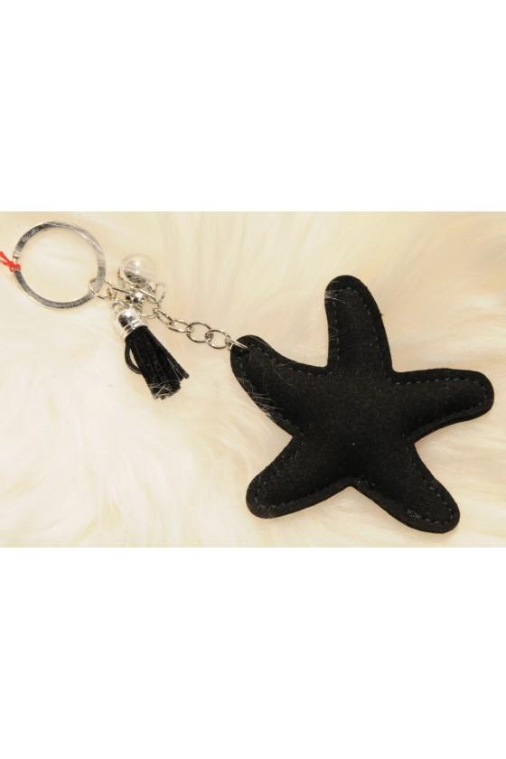 Schlüsselanhänger, Anhänger, schwarz/silber, Seestern