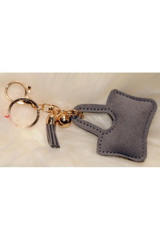 Schlüsselanhänger, Anhänger, Tasche, grau/gold