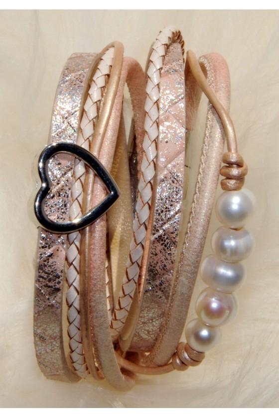 Armband, beige/rosé, Perlen