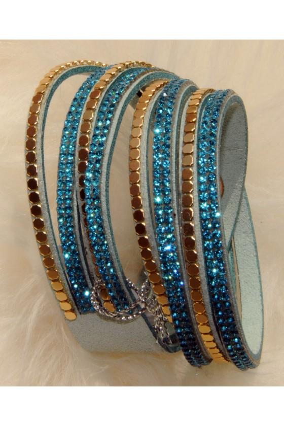 Armband, türkis/gold, Straß