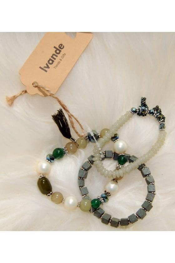 Armband- Set, Glitzerperlen, grüntöne