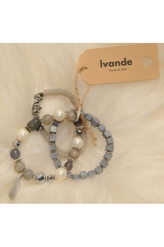 Armband-Set, grau, Perlen