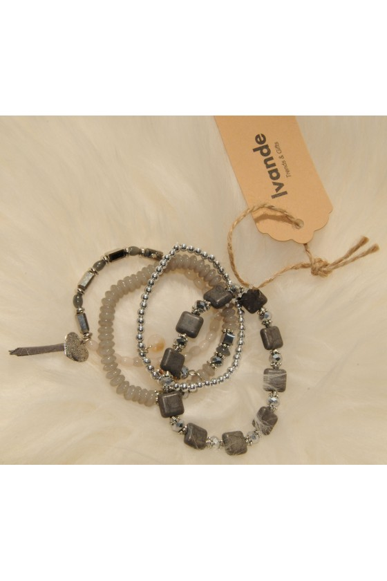 Armband-Set, grau/silber,...