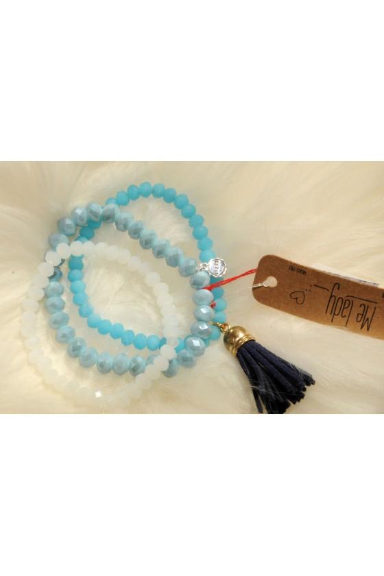 Armband-Set, hellblau/blau