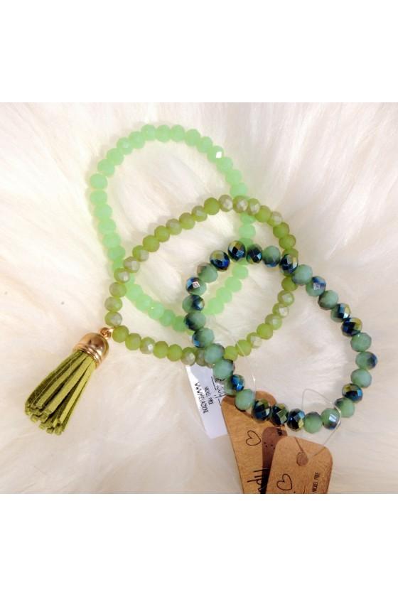 Armband-Set, grün, Quaste
