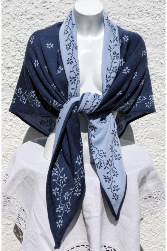 Dreieckstuch, jeans/pastellblau, Streublumen