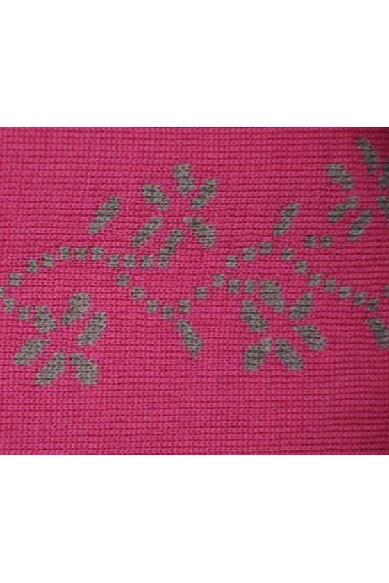 Dreieckstuch, Art en Laine, pink/dunkelbeige, Streublumen, Blumenranke