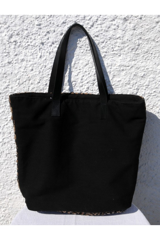 Shopper, Tasche, Leder/Canvas, braun/schwarz