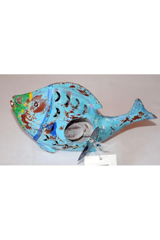 Windlicht, Fisch, Metall, blau/multicolor lackiert