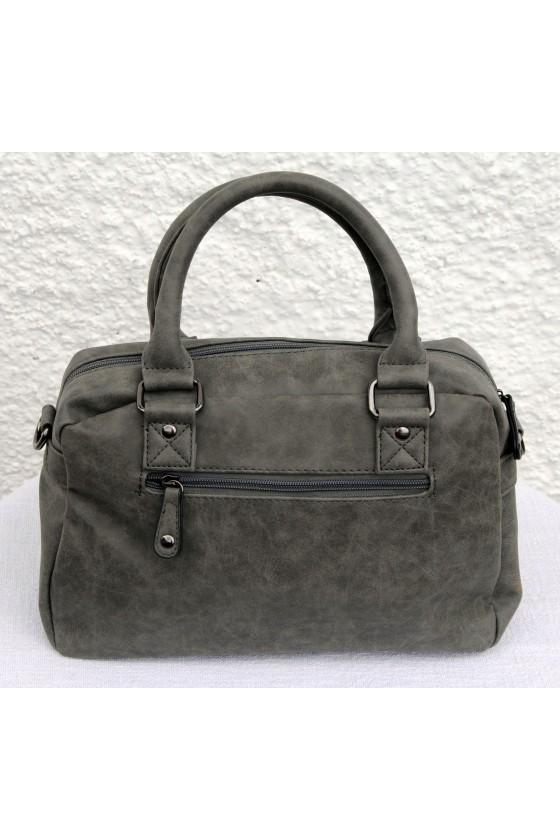 Tasche, Umhängetasche, grau, Kunstleder