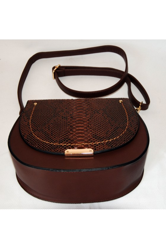 Tasche, Umhängetasche, Saddle-Bag, Kunstleder, braun, Schlangenlederoptik