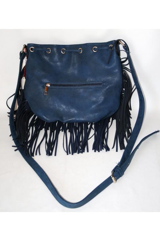 Tasche, Umhängetasche, Fransentasche, Beuteltasche, Kunstleder, blau