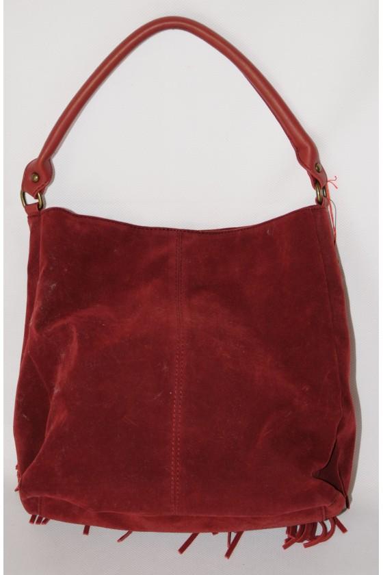 Tasche, Beuteltasche, Fransentasche, Echt Leder, rot