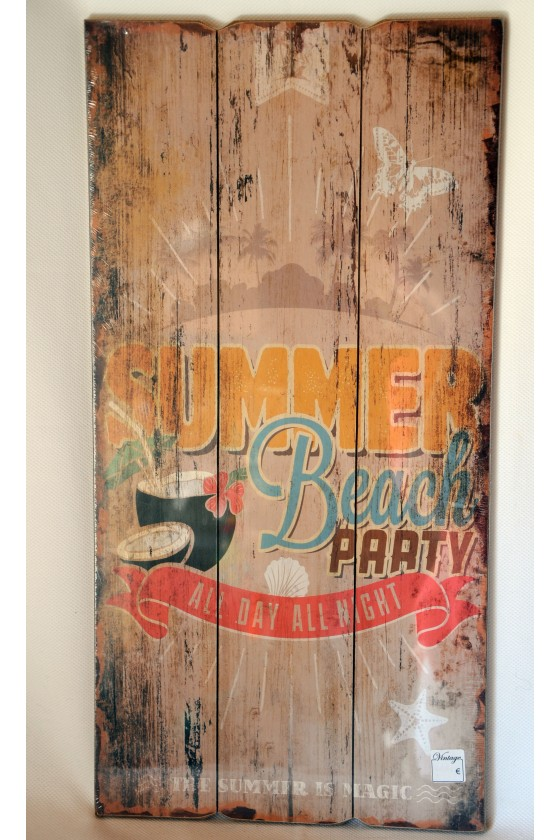 Schild, Dekoschild, creme/multicolor, Summer Beach Party