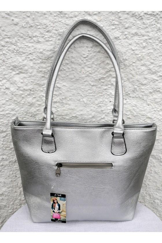 Tasche, Shopper, Kunstleder, silber