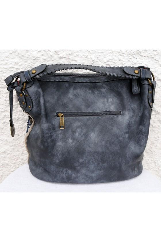 Tasche, Umhängetasche, Kunstleder, dunkelblau/gold
