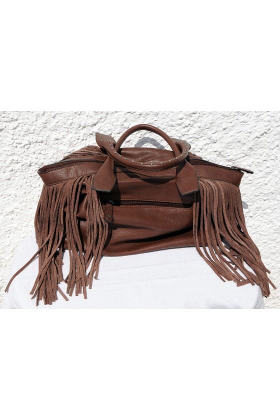 Tasche, Fransentasche, Umhängetasche, braun, Kunstleder
