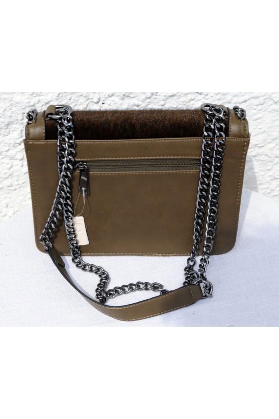 Umhängetasche, Saddle-Bag, Kunstleder/Kunstfell, khaki