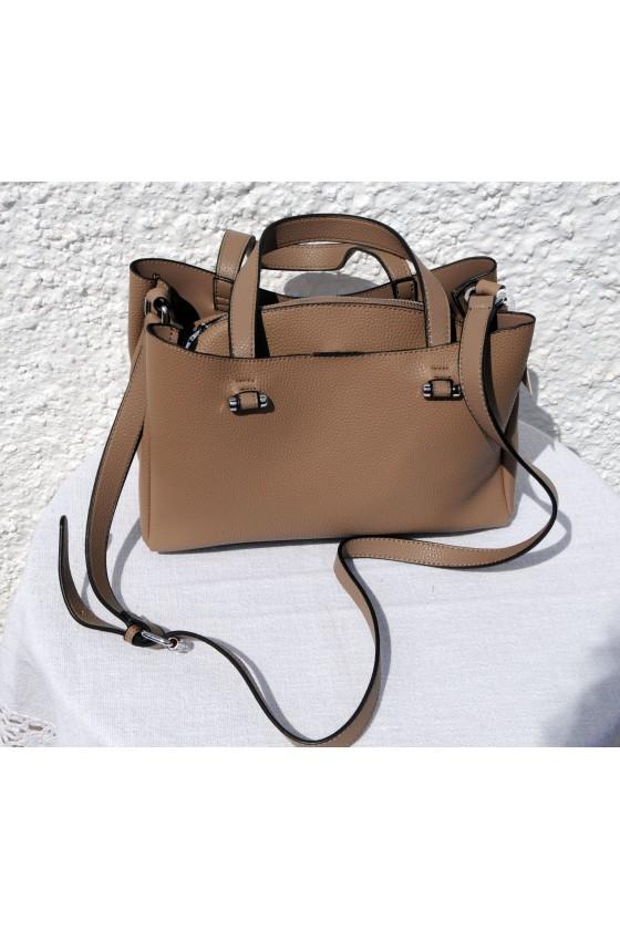 Tasche, Umhängetasche, Kunstleder, beige