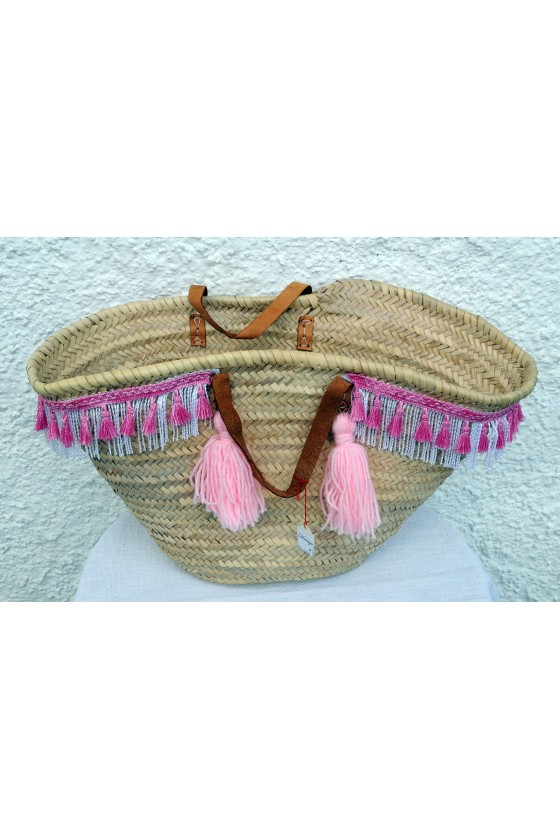 Strandtasche, Korbtasche, Strohtasche, Quastenborte, Quasten, rosa/weiß