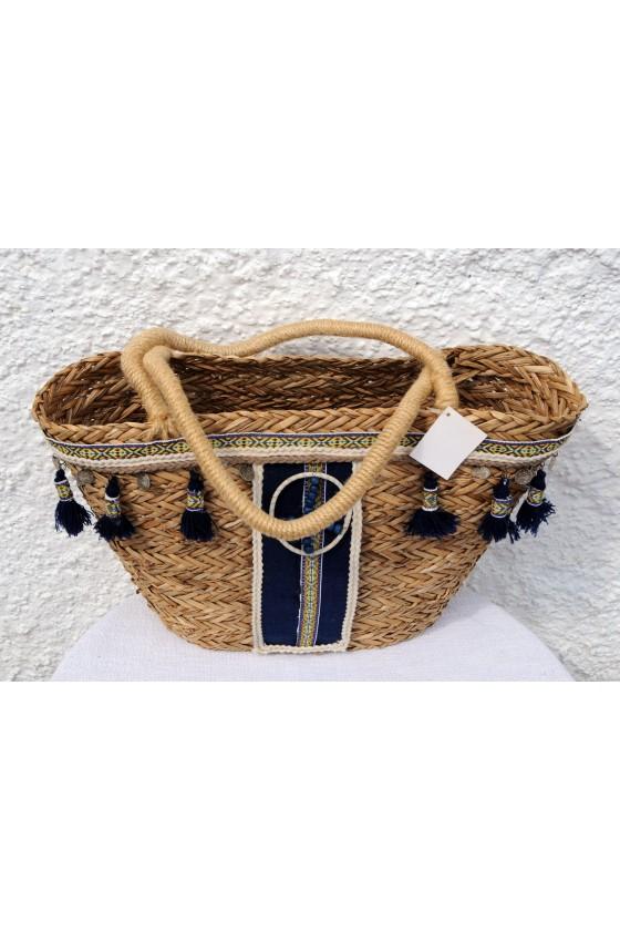 Strandtasche, Korbtasche, natur/blau/multicolor