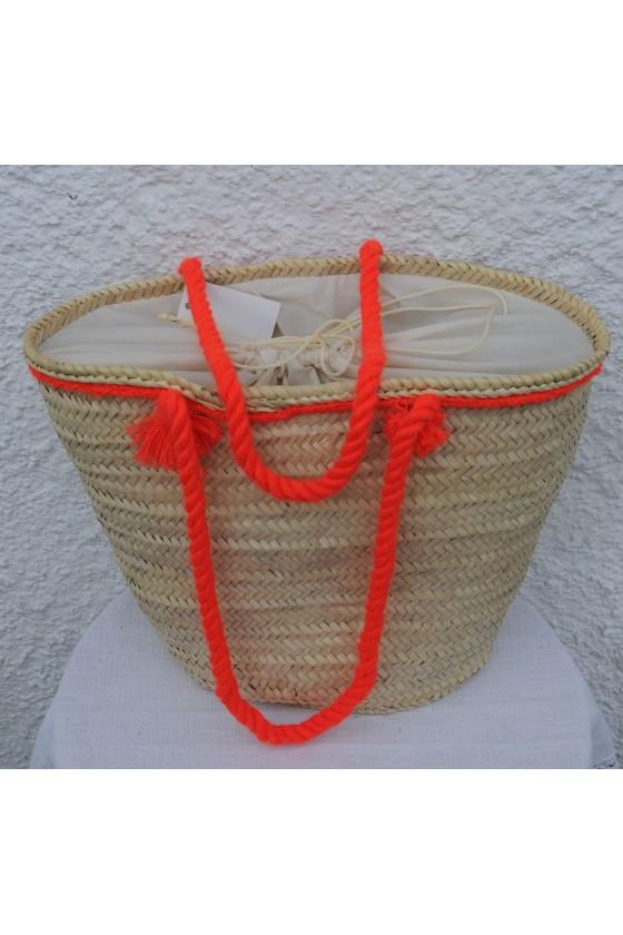 Strandtasche, Korbtasche, natur, Quasten orange/gelb