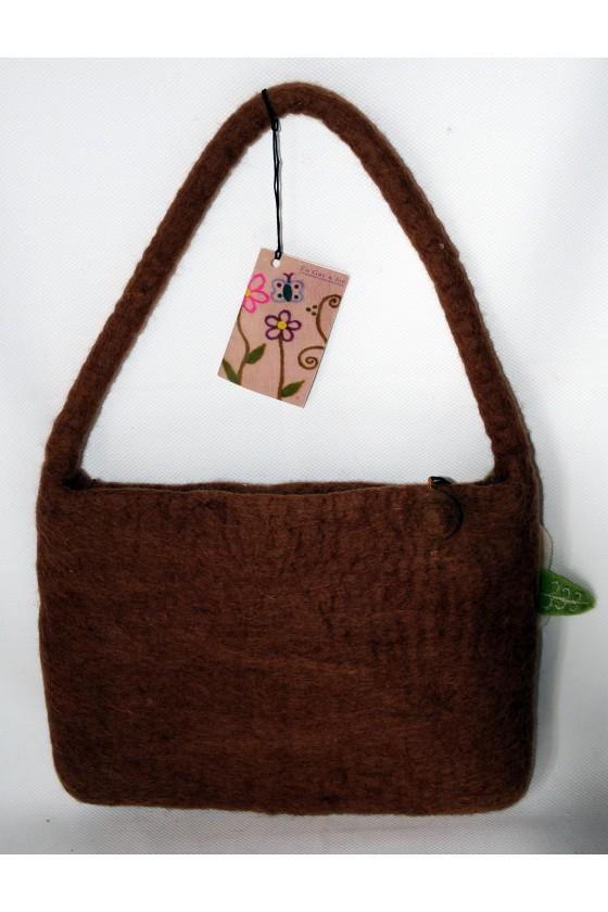 Tasche, Filztasche, 100 % Wollfilz, braun mit Blumenmotiv, Fair Trade