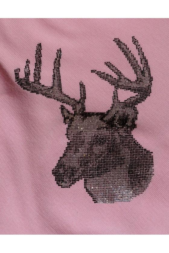 Dreieckstuch, Art en Laine, rosa/silber, Glitzerhirsch