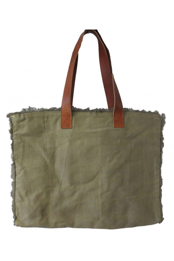 Tasche, Shopper, Canvas/Leder/Kunstleder